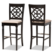 Baxton Studio Alexandra Modern and Contemporary Sand Fabric Upholstered and Espresso Brown Finished Wood 2-Piece Bar Stool Set Baxton Studio restaurant furniture, hotel furniture, commercial furniture, wholesale bar furniture, wholesale bar stools, classic bar stools