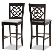 Baxton Studio Alexandra Modern and Contemporary Grey Fabric Upholstered and Espresso Brown Finished Wood 2-Piece Bar Stool Set Baxton Studio restaurant furniture, hotel furniture, commercial furniture, wholesale bar furniture, wholesale bar stools, classic bar stools