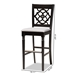 Baxton Studio Alexandra Modern and Contemporary Grey Fabric Upholstered and Espresso Brown Finished Wood 2-Piece Bar Stool Set - IERH322B-Grey/Dark Brown-BS