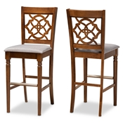 Baxton Studio Alexandra Modern and Contemporary Grey Fabric Upholstered and Walnut Brown Finished Wood 2-Piece Bar Stool Set Baxton Studio restaurant furniture, hotel furniture, commercial furniture, wholesale bar furniture, wholesale bar stools, classic bar stools