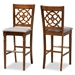 Baxton Studio Alexandra Modern and Contemporary Grey Fabric Upholstered and Walnut Brown Finished Wood 2-Piece Bar Stool Set - IERH322B-Grey/Walnut-BS