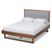 Baxton Studio Viviana Modern and Contemporary Light Grey Fabric Upholstered and Ash Walnut Finished Wood King Size Platform Bed Baxton Studio restaurant furniture, hotel furniture, commercial furniture, wholesale bedroom furniture, wholesale king, classic king