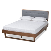 Baxton Studio Natalia Mid-Century Modern Dark Grey Fabric Upholstered and Ash Walnut Finished Wood King Size Platform Bed Baxton Studio restaurant furniture, hotel furniture, commercial furniture, wholesale bedroom furniture, wholesale king, classic king