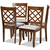 Baxton Studio Brigitte Modern and Contemporary Grey Fabric Upholstered and Walnut Brown Finished Wood 4-Piece Dining Chair Set Baxton Studio restaurant furniture, hotel furniture, commercial furniture, wholesale dining room furniture, wholesale dining chairs, classic dining chairs