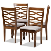 Baxton Studio Elijah Modern and Contemporary Grey Fabric Upholstered and Walnut Brown Finished Wood 4-Piece Dining Chair Set
