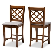 Baxton Studio Aria Modern and Contemporary Grey Fabric Upholstered and Walnut Brown Finished Wood 2-Piece Counter Height Pub Chair Set Baxton Studio restaurant furniture, hotel furniture, commercial furniture, wholesale bar furniture, wholesale pub stools, classic pub stools