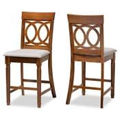 Baxton Studio Violet Modern and Contemporary Grey Fabric Upholstered and Walnut Brown Finished Wood 2-Piece Counter Height Pub Chair Set Baxton Studio restaurant furniture, hotel furniture, commercial furniture, wholesale bar furniture, wholesale pub stools, classic pub stools