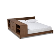 Baxton Studio Kaori Modern and Contemporary Transitional Walnut Brown Finished Wood Queen Size Platform Storage Bed Baxton Studio restaurant furniture, hotel furniture, commercial furniture, wholesale bedroom furniture, wholesale queen, classic queen