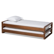 Baxton Studio Klara Modern and Contemporary Walnut Finished Wood Expandable Twin Size to King Size Bed Frame Baxton Studio restaurant furniture, hotel furniture, commercial furniture, wholesale bedroom furniture, wholesale twin, classic twin