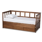 Baxton Studio Kendra Modern and Contemporary Walnut Brown Finished Expandable Twin Size to King Size Daybed with Storage Drawers