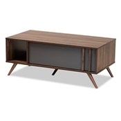 Baxton Studio Naoki Modern and Contemporary Two-Tone Grey and Walnut Finished Wood 1-Drawer Coffee Table Baxton Studio restaurant furniture, hotel furniture, commercial furniture, wholesale living room furniture, wholesale coffee table, classic coffee table