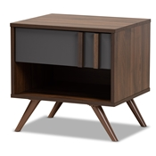 Baxton Studio Naoki Modern and Contemporary Two-Tone Grey and Walnut Finished Wood 1-Drawer Nightstand Baxton Studio restaurant furniture, hotel furniture, commercial furniture, wholesale bedroom furniture, wholesale night stand, classic night stand