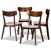 Baxton Studio Iora Mid-Century Modern Transitional Light Beige Fabric Upholstered and Walnut Brown Finished Wood 4-Piece Dining Chair Set Baxton Studio restaurant furniture, hotel furniture, commercial furniture, wholesale dining furniture, wholesale dining chairs, classic dining chairs