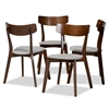 Baxton Studio Iora Mid-Century Modern Transitional Light Grey Fabric Upholstered and Walnut Brown Finished Wood 4-Piece Dining Chair Set Baxton Studio restaurant furniture, hotel furniture, commercial furniture, wholesale dining furniture, wholesale dining chairs, classic dining chairs