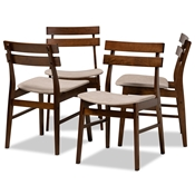 Baxton Studio Devlin Mid-Century Modern Transitional Light Beige Fabric Upholstered and Walnut Brown Finished Wood 4-Piece Dining Chair Set Baxton Studio restaurant furniture, hotel furniture, commercial furniture, wholesale dining furniture, wholesale dining chairs, classic dining chairs