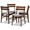 Baxton Studio Devlin Mid-Century Modern Transitional Light Grey Fabric Upholstered and Walnut Brown Finished Wood 4-Piece Dining Chair Set Baxton Studio restaurant furniture, hotel furniture, commercial furniture, wholesale dining furniture, wholesale dining chairs, classic dining chairs