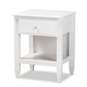 Baxton Studio Naomi Classic and Transitional White Finished Wood 1-Drawer Bedroom Nightstand Baxton Studio restaurant furniture, hotel furniture, commercial furniture, wholesale bedroom furniture, wholesale night stand, classic night stand