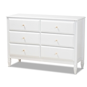 Baxton Studio Naomi Classic and Transitional White Finished Wood 6-Drawer Bedroom Dresser