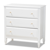 Baxton Studio Naomi Classic and Transitional White Finished Wood 3-Drawer Bedroom Chest