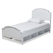 Baxton Studio Elise Classic and Traditional Transitional White Finished Wood Twin Size Storage Platform Bed - IEMG0038-White-Twin