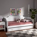 Baxton Studio Alya Classic Traditional Farmhouse White Finished Wood Twin Size Daybed with Roll-Out Trundle Bed - IEMG0016-1-White-Daybed with Trundle