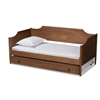 Baxton Studio Alya Classic Traditional Farmhouse Walnut Brown Finished Wood Twin Size Daybed with Roll-Out Trundle Bed Baxton Studio restaurant furniture, hotel furniture, commercial furniture, wholesale bedroom furniture, wholesale twin, classic twin
