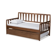 Baxton Studio Midori Modern and Contemporary Transitional Walnut Brown Finished Wood Twin Size Daybed with Roll-Out Trundle Bed