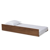 Baxton Studio Midori Modern and Contemporary Transitional Walnut Brown Finished Wood Twin Size Trundle Bed Baxton Studio restaurant furniture, hotel furniture, commercial furniture, wholesale bedroom furniture, wholesale twin, classic twin