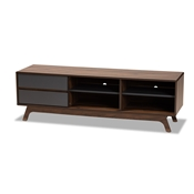 Baxton Studio Koji Mid-Century Modern Two-Tone Grey and Walnut Finished Wood 2-Drawer TV Stand Baxton Studio restaurant furniture, hotel furniture, commercial furniture, wholesale living room furniture, wholesale storage cabinet, classic storage cabinet