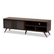 Baxton Studio Naoki Modern and Contemporary Two-Tone Grey and Walnut Finished Wood 2-Door TV Stand Baxton Studio restaurant furniture, hotel furniture, commercial furniture, wholesale living room furniture, wholesale storage cabinet, classic storage cabinet