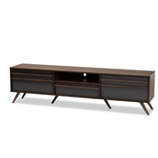 Baxton Studio Naoki Modern and Contemporary Two-Tone Grey and Walnut Finished Wood TV Stand with Drop-Down Compartments Baxton Studio restaurant furniture, hotel furniture, commercial furniture, wholesale living room furniture, wholesale storage cabinet, classic storage cabinet