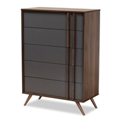 Baxton Studio Naoki Modern and Contemporary Two-Tone Grey and Walnut Finished Wood 5-Drawer Bedroom Chest