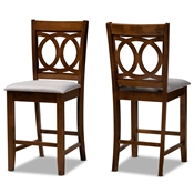Baxton Studio Lenoir Modern and Contemporary Grey Fabric Upholstered Walnut Brown Finished Wood 2-Piece Counter Height Pub Chair Set Baxton Studio restaurant furniture, hotel furniture, commercial furniture, wholesale bar furniture, wholesale counter stools, classic counter stools