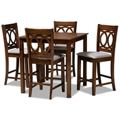 Baxton Studio Lenoir Modern and Contemporary Grey Fabric Upholstered Walnut Brown Finished 5-Piece Wood Pub Set Baxton Studio restaurant furniture, hotel furniture, commercial furniture, wholesale bar furniture, wholesale pub sets, classic pub sets