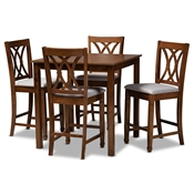 Baxton Studio Reneau Modern and Contemporary Grey Fabric Upholstered Walnut Brown Finished 5-Piece Wood Pub Set Baxton Studio restaurant furniture, hotel furniture, commercial furniture, wholesale bar furniture, wholesale pub sets, classic pub sets