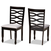 Baxton Studio Lanier Modern and Contemporary Grey Fabric Upholstered Espresso Brown Finished Wood 2-Piece Dining Chair Set Baxton Studio restaurant furniture, hotel furniture, commercial furniture, wholesale dining room furniture, wholesale dining chairs, classic dining chairs