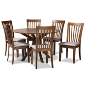 Baxton Studio Lore Modern and Contemporary Grey Fabric Upholstered and Walnut Brown Finished Wood 7-Piece Dining Set
