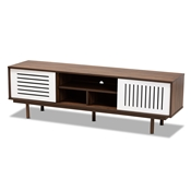 Baxton Studio Meike Mid-Century Modern Two-Tone Walnut Brown and White Finished Wood TV Stand Baxton Studio restaurant furniture, hotel furniture, commercial furniture, wholesale living room furniture, wholesale tv stand, classic tv stand