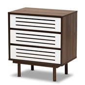 Baxton Studio Meike Mid-Century Modern Two-Tone Walnut Brown and White Finished Wood 3-Drawer Nightstand Baxton Studio restaurant furniture, hotel furniture, commercial furniture, wholesale bedroom furniture, wholesale night stand, classic night stand