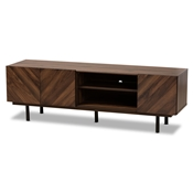 Baxton Studio Berit Mid-Century Modern Walnut Brown Finished Wood TV Stand Baxton Studio restaurant furniture, hotel furniture, commercial furniture, wholesale living room furniture, wholesale tv stand, classic tv stand