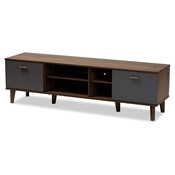 Baxton Studio Moina Mid-Century Modern Two-Tone Walnut Brown and Grey Finished Wood TV Stand Baxton Studio restaurant furniture, hotel furniture, commercial furniture, wholesale living room furniture, wholesale tv stand, classic tv stand