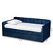 Baxton Studio Jona Modern and Contemporary Transitional Navy Blue Velvet Fabric Upholstered and Button Tufted Twin Size Daybed with Trundle - IECF9183-Navy Blue-Daybed-T/T