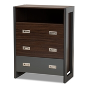 Baxton Studio Elliot Modern and Contemporary Two-Tone Walnut and Grey Finished Wood 3-Drawer Chest