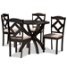 Baxton Studio Quinlan Modern and Contemporary Sand Fabric Upholstered and Dark Brown Finished Wood 5-Piece Dining Set - IEQuinlan-Dark Brown/Sand-5PC Dining Set
