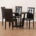 Baxton Studio Vida Modern and Contemporary Dark Brown Faux Leather Upholstered and Dark Brown Finished Wood 5-Piece Dining Set - IEVida-Dark Brown-5PC Dining Set