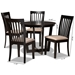 Baxton Studio Nellie Modern and Contemporary Sand Fabric Upholstered and Dark Brown Finished Wood 5-Piece Dining Set - IENellie-Sand/Dark Brown-5PC Dining Set