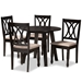 Baxton Studio Millie Modern and Contemporary Sand Fabric Upholstered and Dark Brown Finished Wood 5-Piece Dining Set - IEMillie-Sand/Dark Brown-5PC Dining Set