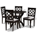 Baxton Studio Savina Modern and Contemporary Grey Fabric Upholstered and Dark Brown Finished Wood 5-Piece Dining Set - IESavina-Grey/Dark Brown-5PC Dining Set