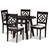 Baxton Studio Eliza Modern and Contemporary Grey Fabric Upholstered and Walnut Brown Finished Wood 5-Piece Dining Set Baxton Studio restaurant furniture, hotel furniture, commercial furniture, wholesale dining room furniture, wholesale dining set, classic dining set