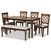 Baxton Studio Andor Modern and Contemporary Grey Fabric Upholstered and Walnut Brown Finished Wood 6-Piece Dining Set Baxton Studio restaurant furniture, hotel furniture, commercial furniture, wholesale dining furniture, wholesale dining sets, classic dining sets